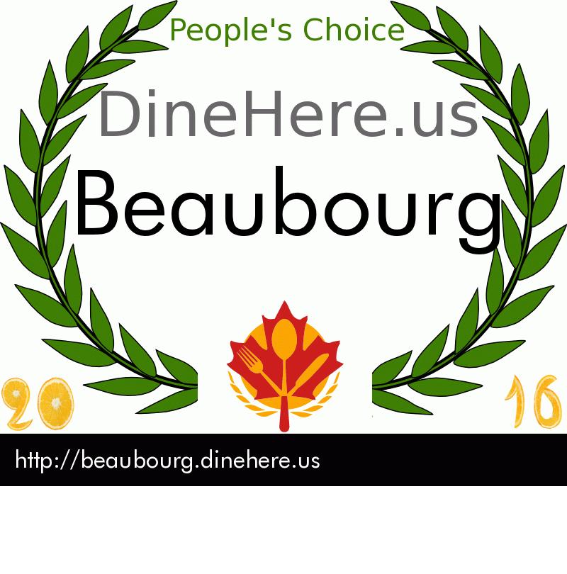 Beaubourg DineHere.us 2016 Award Winner